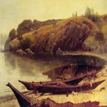 Albert Bierstadt (1830-1902)  Canoes  Oil on paper, 1888  12 7/8 x 18 1/2 inches (33 x 47 cm)  The Thomas Gilcrease Institute of American History and Art, Tulsa